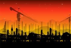 Bouwwerf op zonsondergang Royalty-vrije Stock Afbeelding