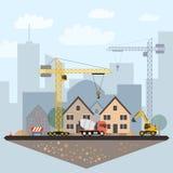 Bouwwerfillustratie met gebouwen en machines vector illustratie