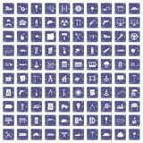 100 bouwwerfpictogrammen geplaatst grunge saffier Royalty-vrije Stock Afbeeldingen