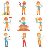 Bouwwerkzaamheid en Jonge geitjes Geplaatste Bouwers Royalty-vrije Stock Foto's