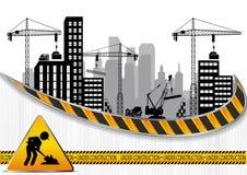 Bouwwerven met gebouwen en kranen vector illustratie