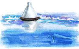 Bouy. Painting of sea bouy and fih Stock Photos