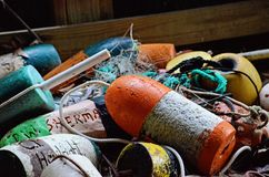 Bouy pile at the OBX. Bouy collection in a pile on the east coast in the OBX royalty free stock image