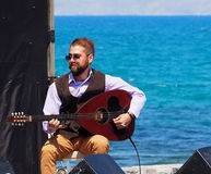 Bouzouki Player At Easter Celebration Heraklion Crete Greece Stock Photo