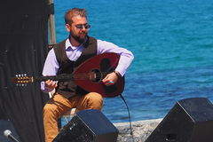 Bouzouki Player At Easter Celebration Heraklion Crete Greece Royalty Free Stock Images