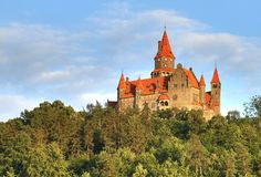 Bouzov castle in Czech republic. Beautiful Bouzov castle in Czech republic Royalty Free Stock Images