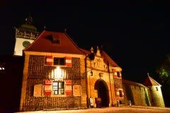 Bouzov-Schloss nachts Lizenzfreies Stockfoto