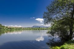 Bovan lake in Serbia. View at Rtanj mountain from the Bovan lake in Serbia Royalty Free Stock Photo