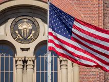 Free Bovard Aministration And American Flag Royalty Free Stock Photography - 121612927