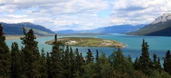 Bove海岛在塔吉什湖, Carcross,育空,加拿大 免版税库存照片