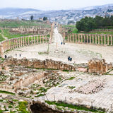 Bove view of The Oval Forum and Cardo Maximus road Royalty Free Stock Photos