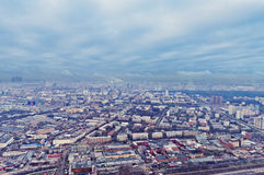 Boven cityscape van meningsMoskou in de herfst stock foto's