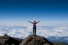 Boven de wolken op Kilimanjaro Royalty-vrije Stock Foto