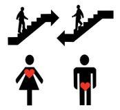 Boven en beneden, man en vrouwentekens Stock Foto