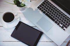Boven geschoten van laptop en tablet Royalty-vrije Stock Foto