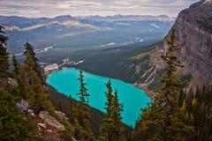 Boven het Meer Louise, Canada Stock Foto's
