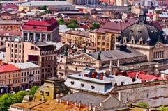 Boven mening over Lviv de Oekraïne royalty-vrije stock afbeeldingen