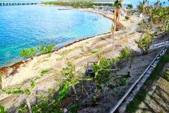 Boven mening van mooi de Sleutelsstrand van Florida na wordt vernietigd door Orkaan Irma Stock Fotografie