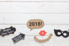 Boven menings luchtbeeld van DIY-van de steunendecoratie van de fotocabine het Gelukkige nieuwe jaar 2018 Royalty-vrije Stock Afbeeldingen