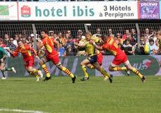 Bovenkant 14 rugbygelijke USAP versus ASM Clermont Auve Stock Fotografie