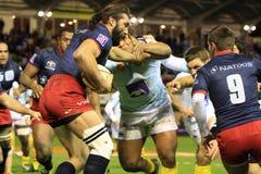 Bovenkant 14 rugbygelijke USAP versus het RENNEN van METRO 92 Royalty-vrije Stock Afbeelding