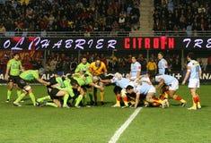 Bovenkant 14 rugbygelijke USAP versus Montauban Royalty-vrije Stock Foto's