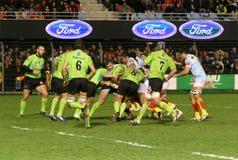 Bovenkant 14 rugbygelijke USAP versus Montauban Stock Foto's