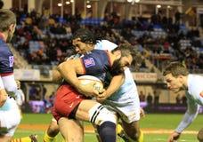 Bovenkant 14 rugbygelijke USAP versus Rennende 92 Stock Afbeeldingen