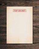 Bovenkant - geheim document. stock foto