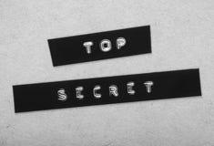 Bovenkant - geheim Etiket royalty-vrije stock foto