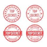 Bovenkant - geheime Rubber de Stijlreeks van Zegelsgrunge Royalty-vrije Stock Afbeeldingen