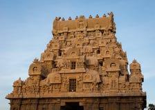 Bovenkant van de ingang Gopuram van Brihadeswarar-Tempel Stock Foto