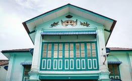 Bovenkant van de oude bouw in Georgetown, Penang, Maleisië stock foto