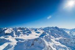 Bovenkant van de sneeuwbergen van de alp Royalty-vrije Stock Fotografie