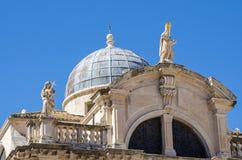 Bovenkant van de voorgevel van de Kerk van St Blaise in Dubrovnik, Croa Stock Foto's