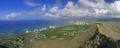 Bovenkant van Diamant Hoofd panoramisch Hawaï Royalty-vrije Stock Afbeeldingen