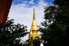 Bovenkant van Gouden Bodhgaya-modellen royalty-vrije stock afbeeldingen