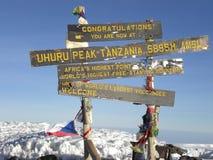 Bovenkant van Mt. Kilimanjaro, het dak van Afrika stock foto