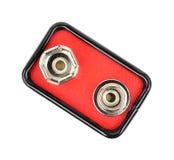 Bovenkant van negen voltbatterij Stock Afbeeldingen