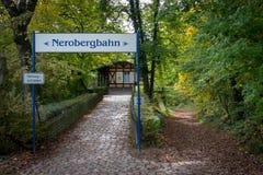 Bovenkant van Nerobergbahn in Wiesbaden, Duitsland royalty-vrije stock afbeelding
