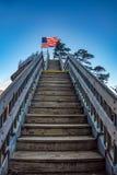 Bovenkant van Schoorsteenrots bij het Park van de Staat van de Schoorsteenrots in Noord-Carolina stock fotografie