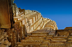 Bovenkant van Vishvanatha-Tempel, Khajuraho, India - Unesco-erfenisplaats. Royalty-vrije Stock Fotografie