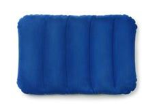 Bovenkant viewe van blauw opblaasbaar hoofdkussen Stock Afbeelding