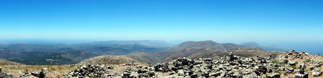 Bovenop de berg Ataviros Stock Foto