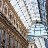 Bovenste gedeelte van de galerij Vittorio Emanuele II in Milaan Stock Foto's