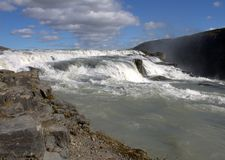 Bovenste gedeelte van Gullfoss-waterval Stock Foto