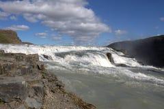 Bovenste gedeelte van Gullfoss-waterval Stock Fotografie