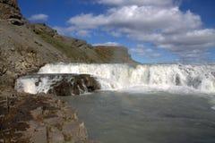 Bovenste gedeelte van Gullfoss-waterval Stock Foto's