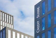 Bovenste gedeelte van het bureaugebouw complex in Zürich Oerlikon Stock Foto's