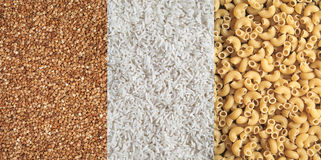 Bovete-, rice- och pastamodeller Arkivbilder